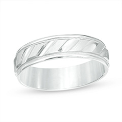 Zales Mens 8.0mm Diamond-Cut Milgrain Center Stripe Wedding Band in Two-Tone Sterling Silver dm4LXaTXqC