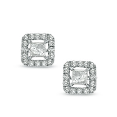 Certified Princess Cut Diamond Stud Earrings With Earring Jackets In Zales America S Since 1924 For The Best Jewelry Selection And