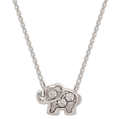 Teenytiny Diamond Accent Elephant Necklace In Sterling