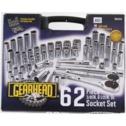 Gearhead 62pc 3/8 in. & 1/2 in. Drive Socket & Ratchet Handle Set