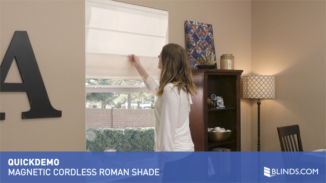 blindscom magnetic cordless roman pleat shade quickdemo u0026raquo roman shades safer for kids whats new video gallery - Cordless Roman Shades