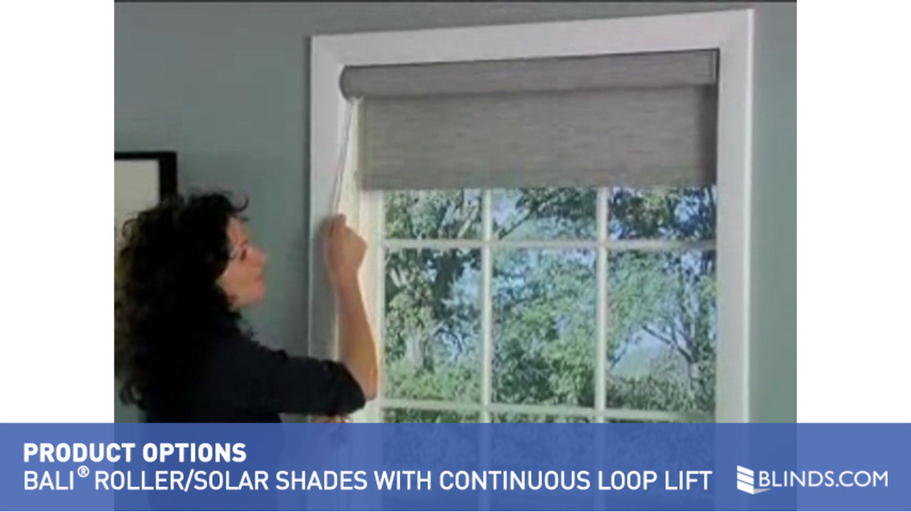 bali rollersolar shades with continuous cord loop lift u0026raquo product options roller and solar shades video gallery