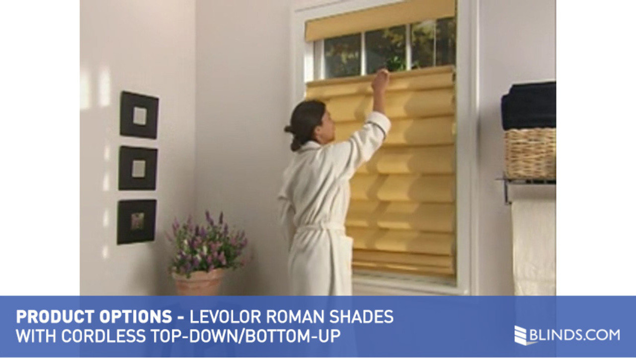 Top down bottom up roman shade - Levolor Fabric Roman Shades With Cordless Top Down Bottom Up Raquo Levoloropttdbucdlsroman Product Options Video Gallery