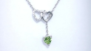 Zales 5.0mm Heart-Shaped Peridot and Diamond Accent Double Heart Lariat Necklace in Sterling Silver - 17.5 ormqZj