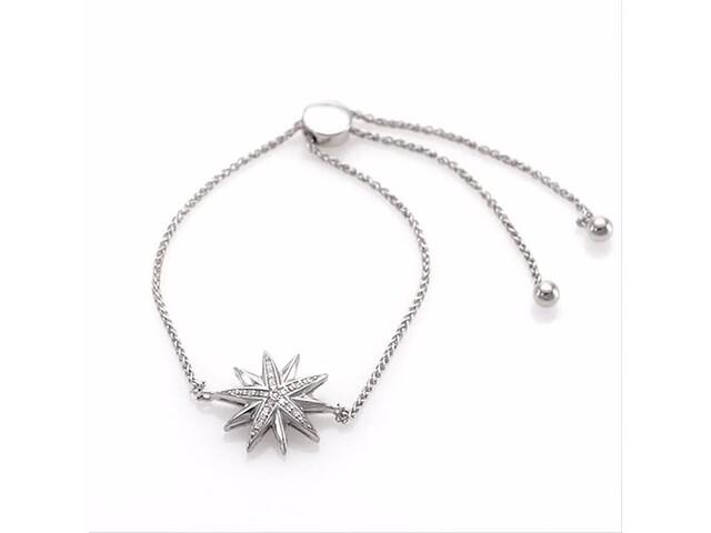 a89e16208 1/10 CT. T.w. Diamond Starburst Bolo Bracelet in Sterling Silver - 9.5