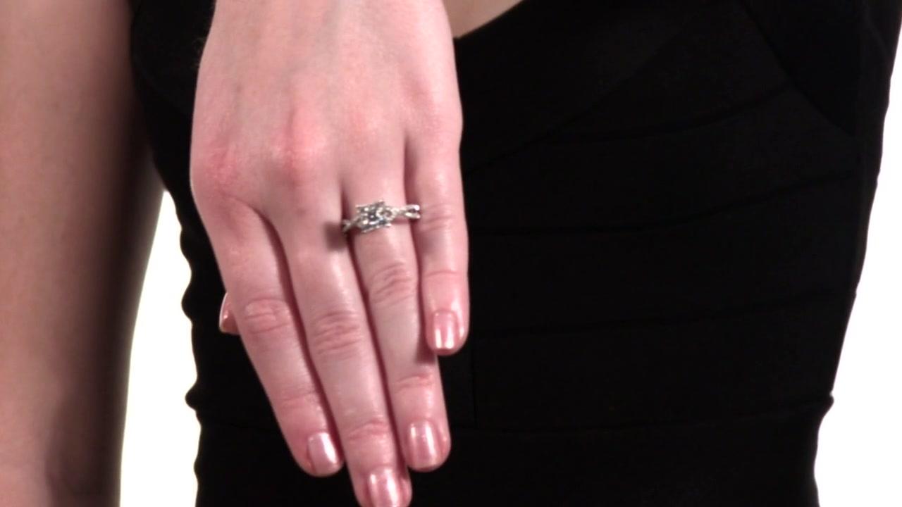 Diamond Cluster Criss-Cross Shank Engagement Ring in 14K White Gold ...