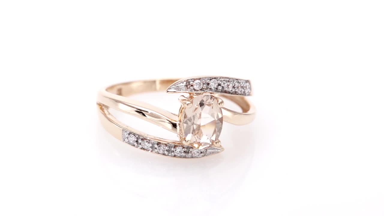 f3feaf150 Video Home » Oval Morganite and White Sapphire Bypass Split Shank Ring in 10K  Rose Gold