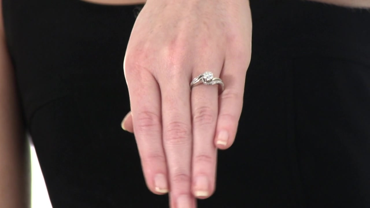 Diamond Cluster Swirl Engagement Ring in 10K White Gold 1/3 CT. T.W. ...