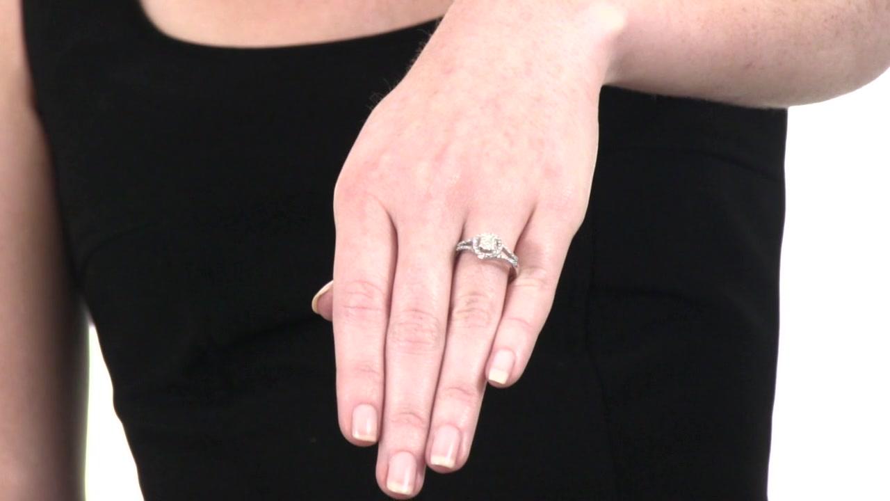 Diamond Cluster Frame Ring in 10K White Gold 1/3 CT. T.W. composite ...