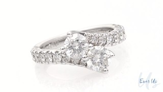 Ever Us 1 Ct T W Two Stone Diamond Bypass Ring In 14k White Gold