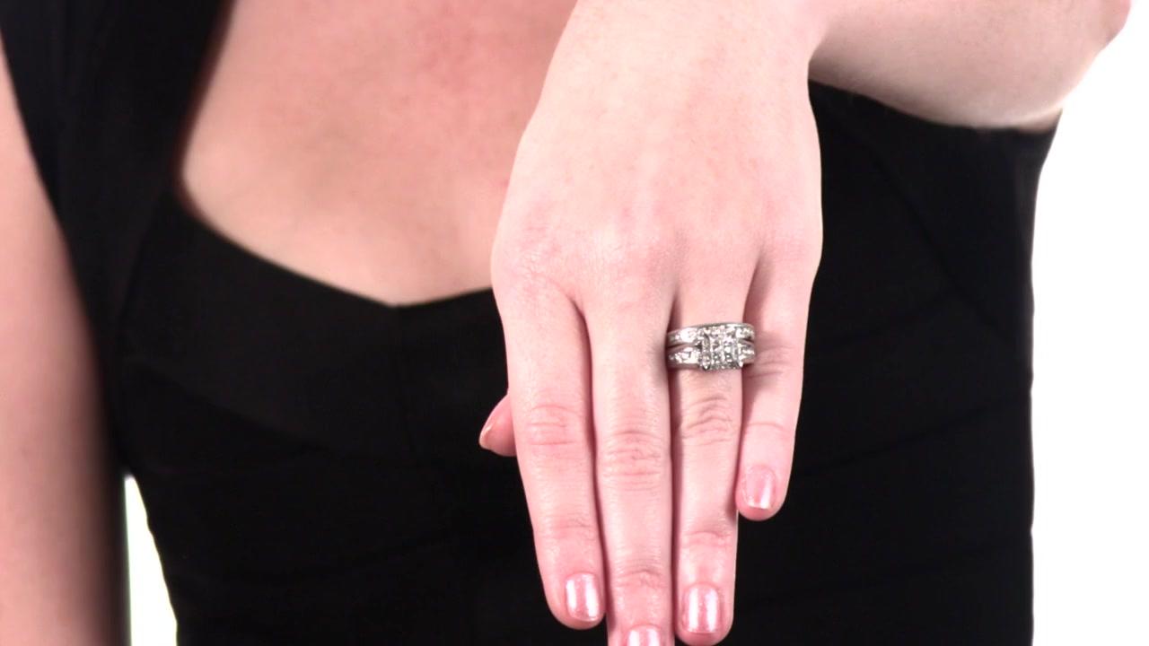 Princess-Cut Quad Diamond Bridal Set in 14K White Gold 1-1/2 CT ...