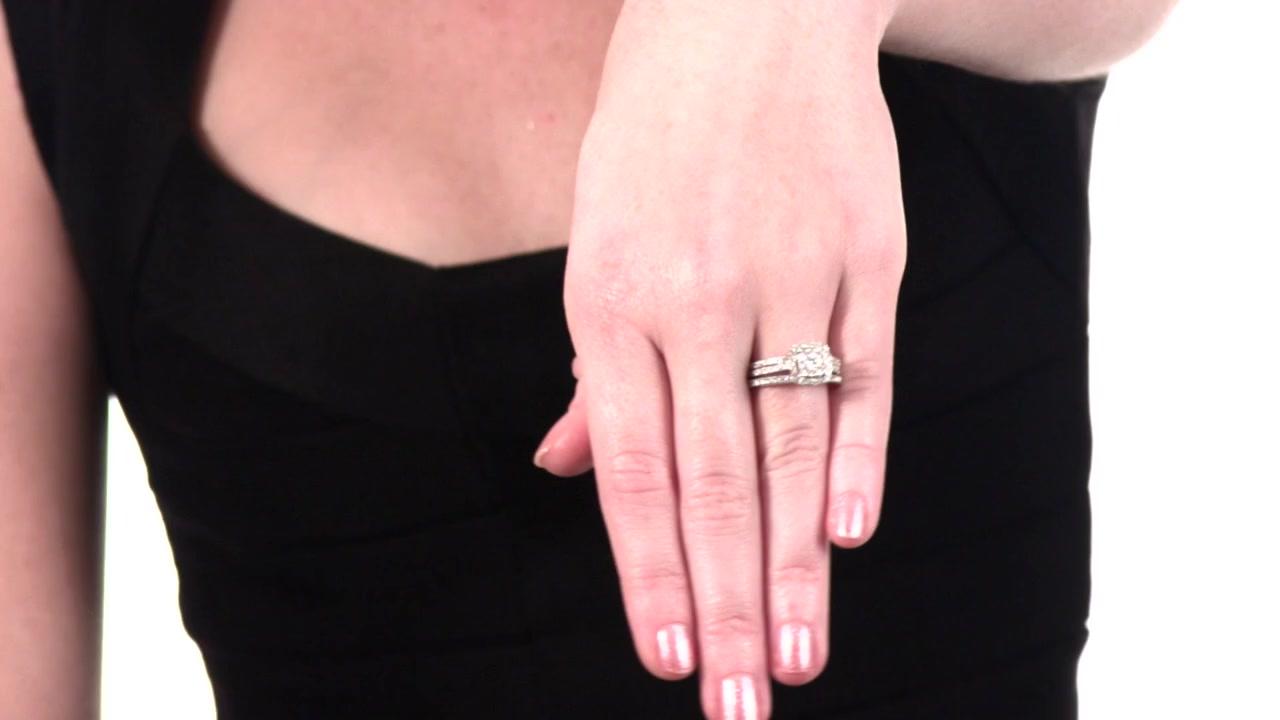4e62912d6 Video Home » Composite Diamond Frame Bridal Set in 10K White Gold 1 CT. T.W.