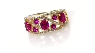 Zales Lab-Created Ruby and White Sapphire Wave Ring in Sterling Silver with 14K Gold Plate crKKk