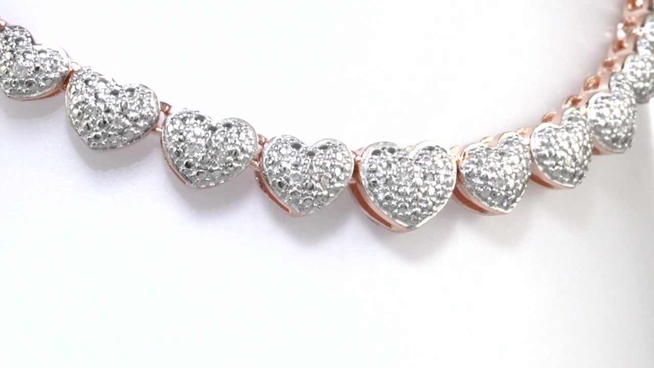7c40a44262c00 Diamond Heart Necklace in Sterling Silver and 18K Rose Gold Plate - 16
