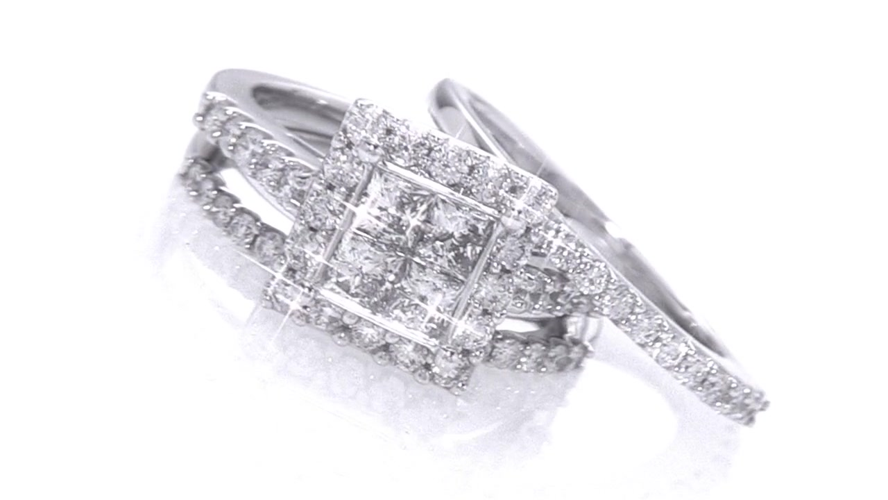 Quad Princess Cut Diamond Framed Three Piece Bridal Set in 14K