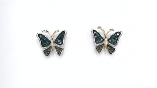 Zales 1/6 CT. T.w. Enhanced Green Diamond Butterfly Stud Earrings in Sterling Silver and 14K Gold pvwHuR