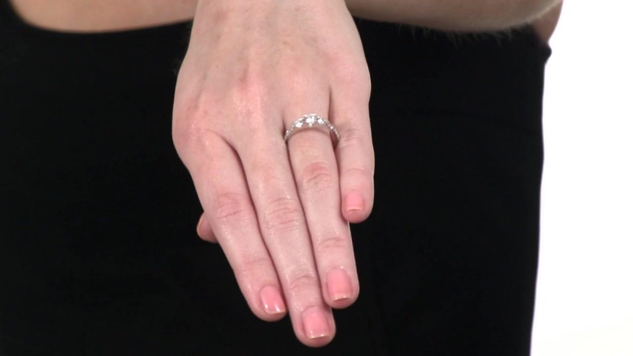 Diamond Three Stone Engagement Ring in 10K White Gold 3/4 CT. T.W. 3 ...