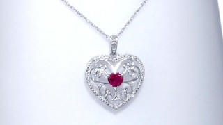 Zales 5.5mm Heart-Shaped Lab-Created Ruby and Diamond Accent Scroll Heart Pendant in Sterling Silver OWpPF7kLe