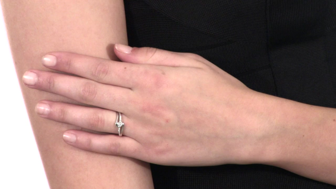 Diamond Accent Heart Split Shank Promise Ring in Sterling Silver ...