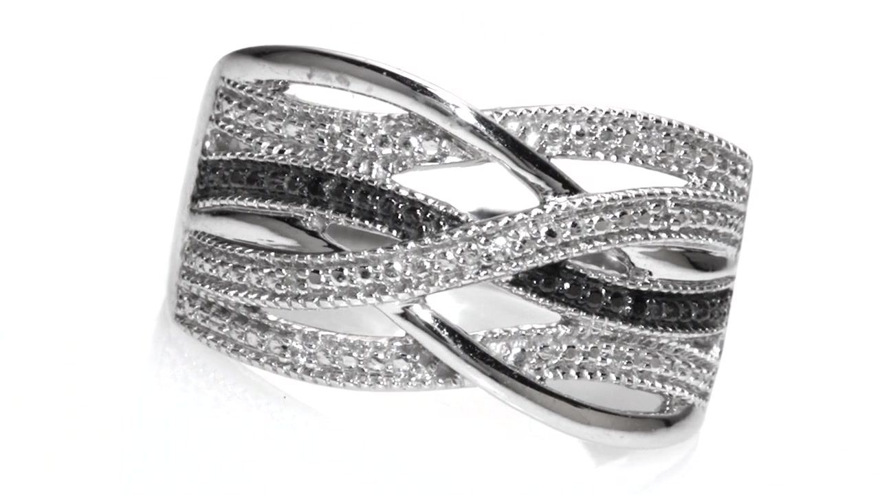 290c00896305a6 ZALES Enhanced Black and White Diamond Accent Loose Woven Multi-Row Ring in  Sterling Silver, Women's, Size: regular » Shop Zales - America's diamond  store ...