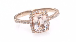 Cushion Cut Morganite And 1 6 Ct T W Diamond Frame Ring In 10k Rose Gold Zales