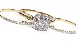 8781f87955 Diamond Cluster Frame Three Piece Bridal Set in 10K Gold 1 2 » Shop ...