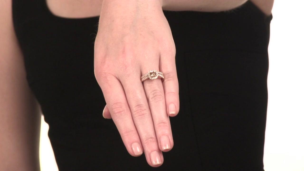 Champagne and White Diamond Frame Bridal Set in 14K Rose Gold 1-1/4 ...