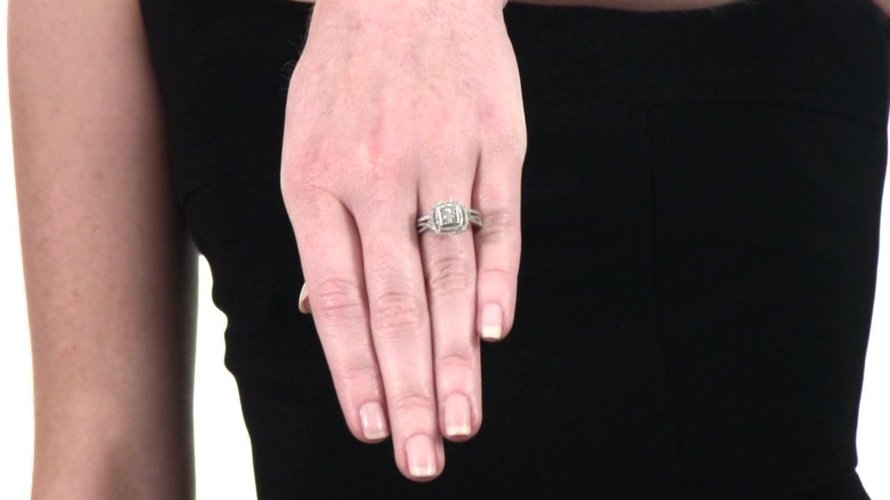 Zales 1/4 CT. T.w. Composite Diamond Square Frame Bridal Set in Sterling Silver 7tGoGUH5