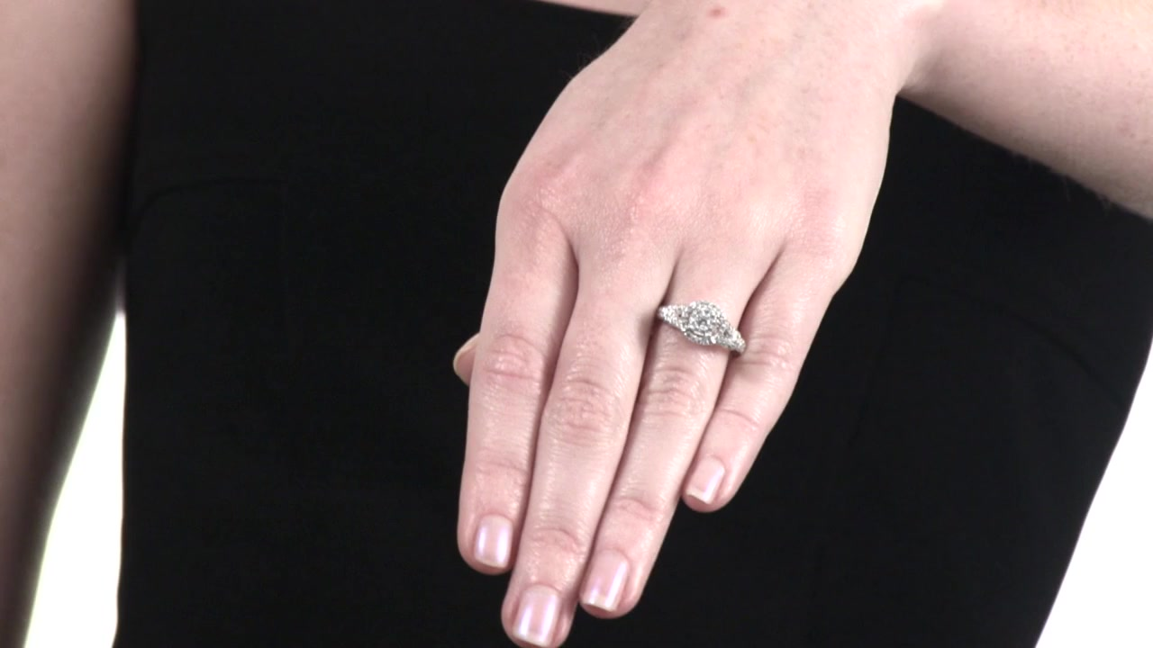 4622491d48900c Video Home » Diamond Double Frame Engagement Ring in 10K White Gold 1/2 CT.  T.W.