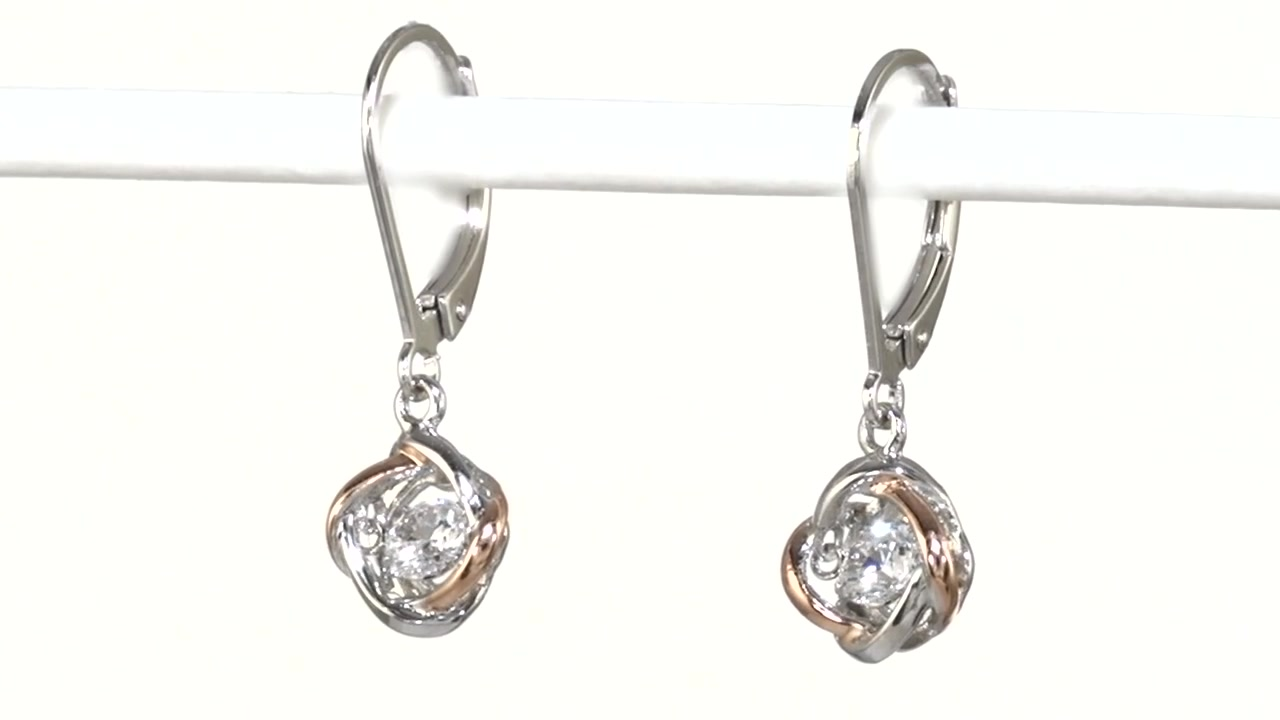 Zales Unstoppable Love Labcreated White Sapphire Love Knot Drop Earrings  In Sterling Silver And 18k Rose Gold Plate, » Shop Zales  America's  Diamond