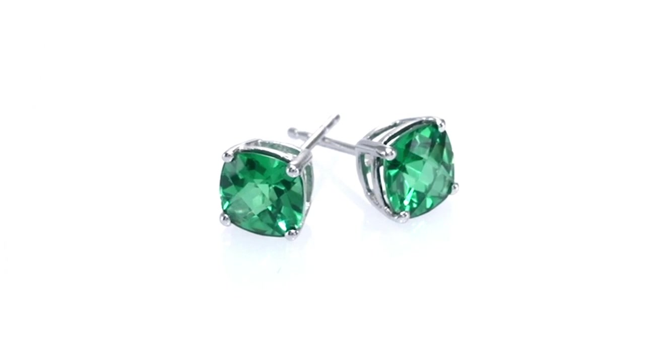 7782d473a Video Home » Cushion-Cut Lab-Created Emerald Stud Earrings in 10K White Gold  ZALES 6.0mm