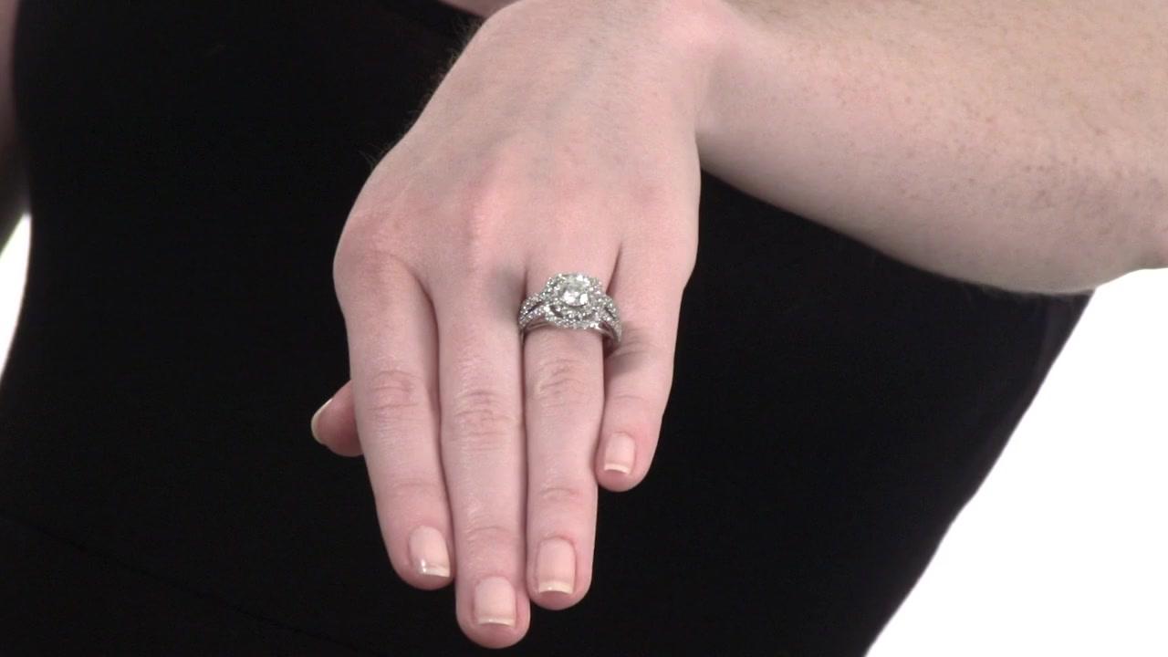 Diamond Double Frame Bridal Set in 14K White Gold 2-1/4 CT. T.W. ...