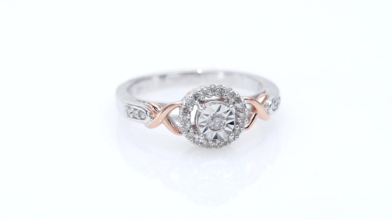 Zales 1/6 CT. T.w. Diamond Composite Twist Promise Ring in Sterling Silver and 14K Rose Gold Plate k10bhHewb