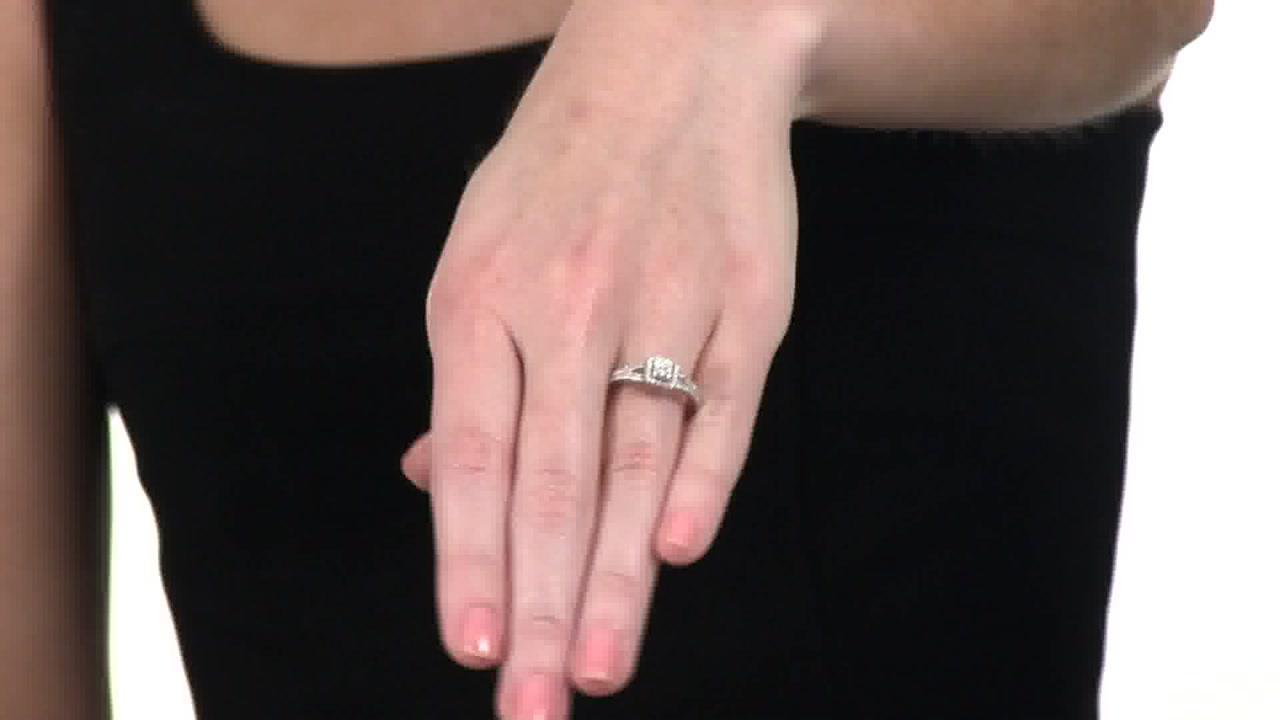Diamond Square Frame Split Shank Promise Ring in Sterling Silver 1/4 ...