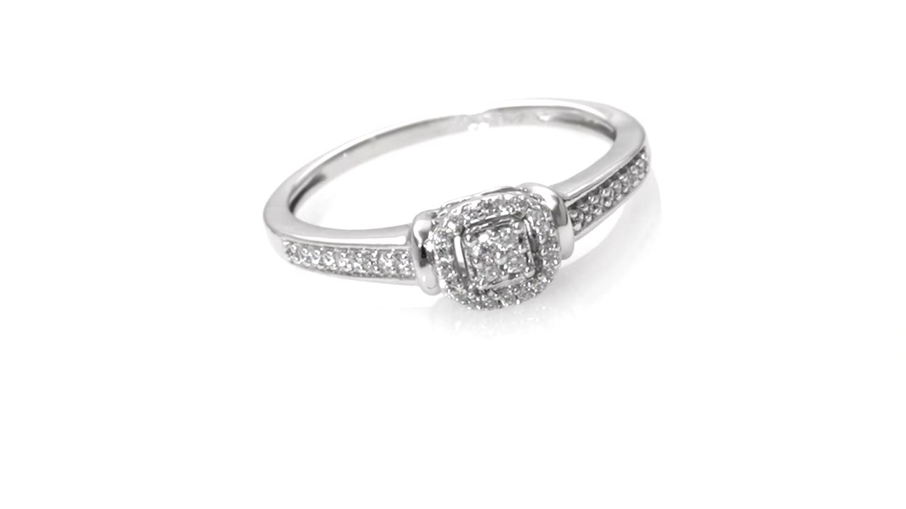 Zales 1/6 CT. T.w. Composite Diamond Cushion Frame Twist Promise Ring in 10K White Gold 53CIonJQ0e