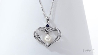 Zales The Kindred Heart from Vera Wang Love Collection Cultured Freshwater Pearl and Sapphire Pendant in Sterling Silver - 19 RDJE7