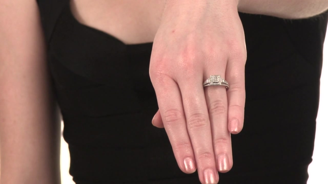 Princess-Cut Diamond Frame Ring in 10K White Gold Cherished Promise ...