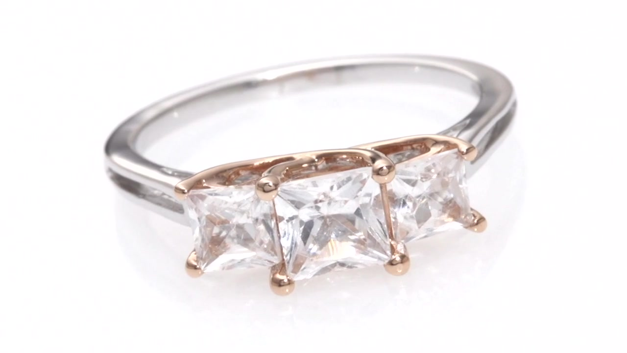 Zales Princess-Cut Lab-Created White Sapphire Three Stone Ring in Sterling Silver and 10K Rose Gold DOf0fPre