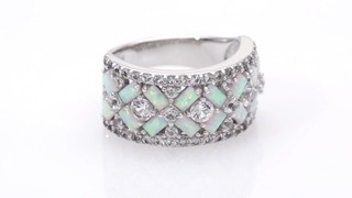 Zales Baguette Lab-Created Opal and White Sapphire Geometric Ring in Sterling Silver 2uwZ7Kh