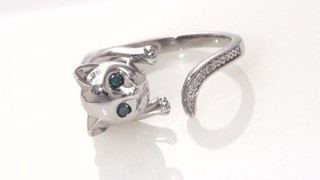 Zales Enhanced Blue and White Diamond Accent Cat Open Ring in Sterling Silver - Size 7 18hzk