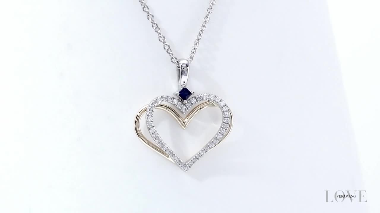 Zales The Kindred Heart from Vera Wang Love Collection 1/10 CT. T.w. Diamond Mini Pendant in Sterling Silver - 19 7catEba
