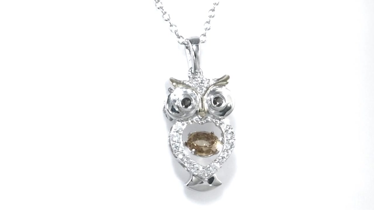 Zales Unstoppable Love Citrine and Lab-Created White Sapphire Owl Pendant in Sterling Silver and 14K Gold Plate UsoQxwZe