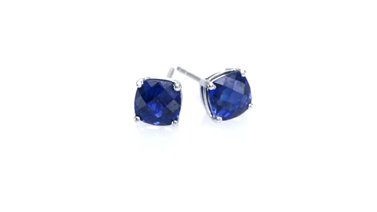 Zales 8.0mm Lab-Created Blue Sapphire Stud Earrings in 10K White Gold jaM9A73