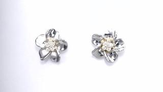 Zales Diamond Accent Flower Pinwheel Stud Earrings in Sterling Silver and 10K Gold t3Vfm