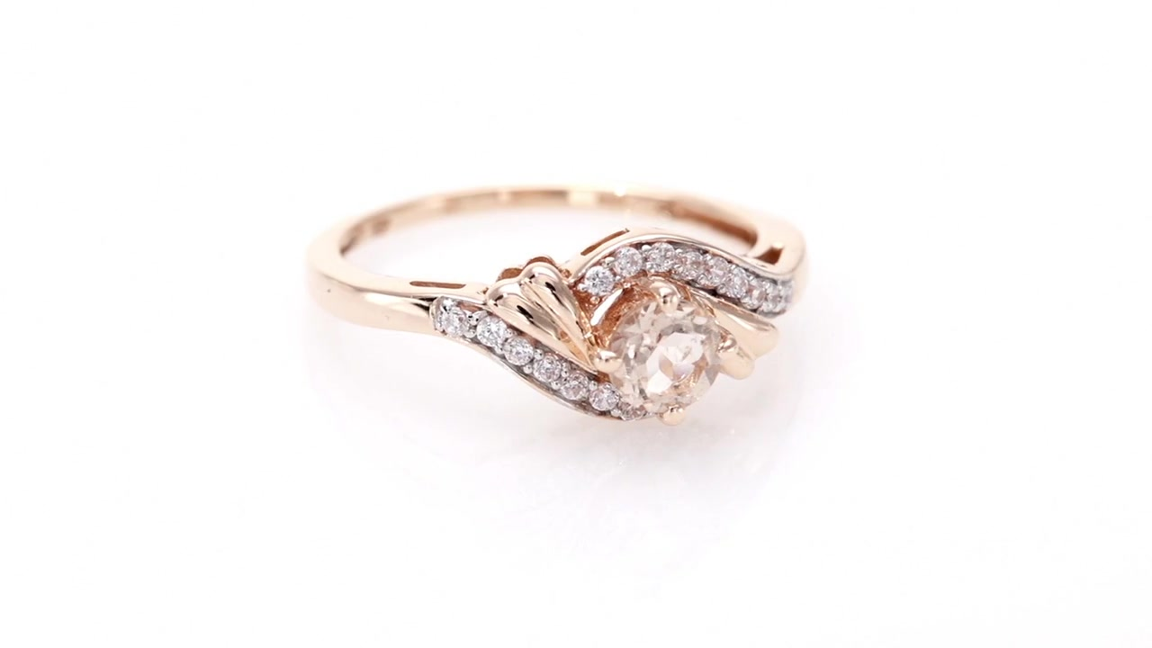 d630a88c2 Video Home » Diamond Swirl Bypass Ring in 10K Rose Gold 4.0mm Morganite and  1/5