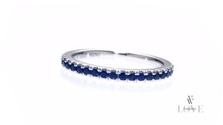 Vera Wang Love Collection Blue Sapphire Wedding Band in 14K White