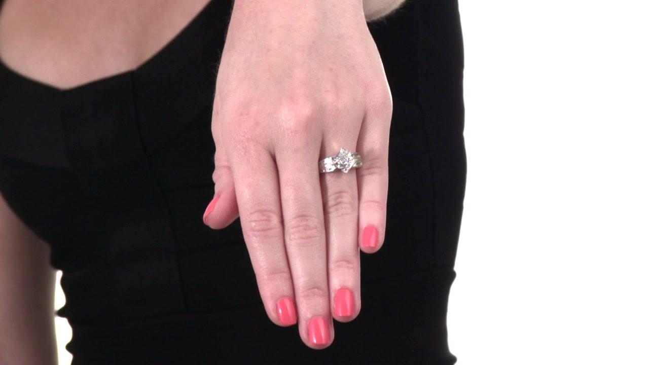 Diamond Bypass Three Stone Ring in 10K White Gold 1/2 CT. T.W. ...