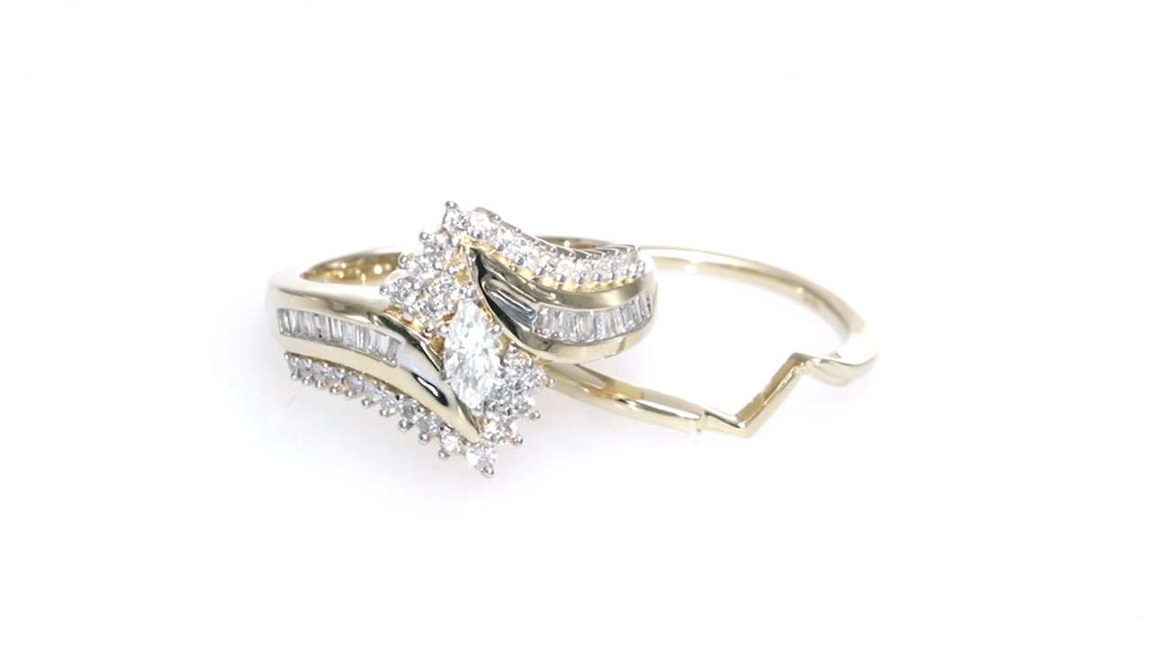 f4c5bed576d6b0 Marquise Diamond Bypass Bridal Set in 14K Gold, Women's ZALES 3/4 » Shop  Zales - America's diamond store since 1924 - for the best jewelry selection  and ...