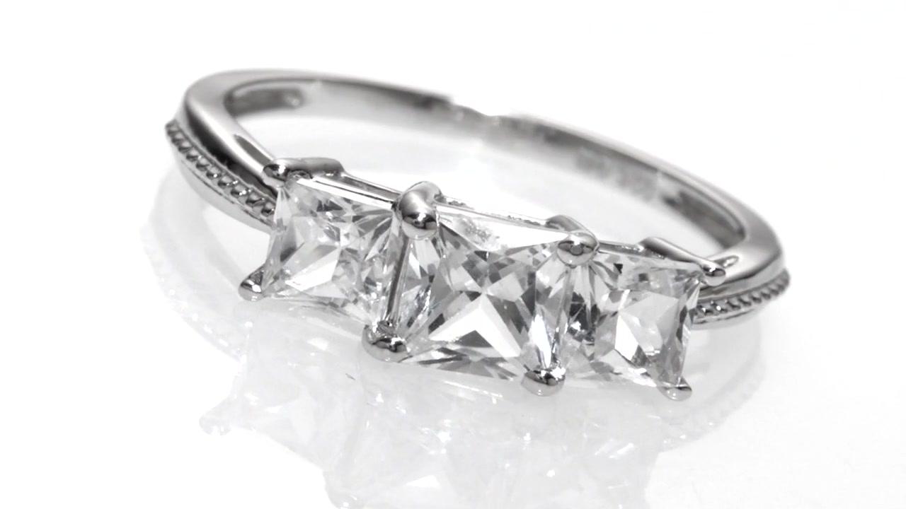 Zales Lab-Created White Sapphire Three Stone Pendant in 10K White Gold 8FoICi2