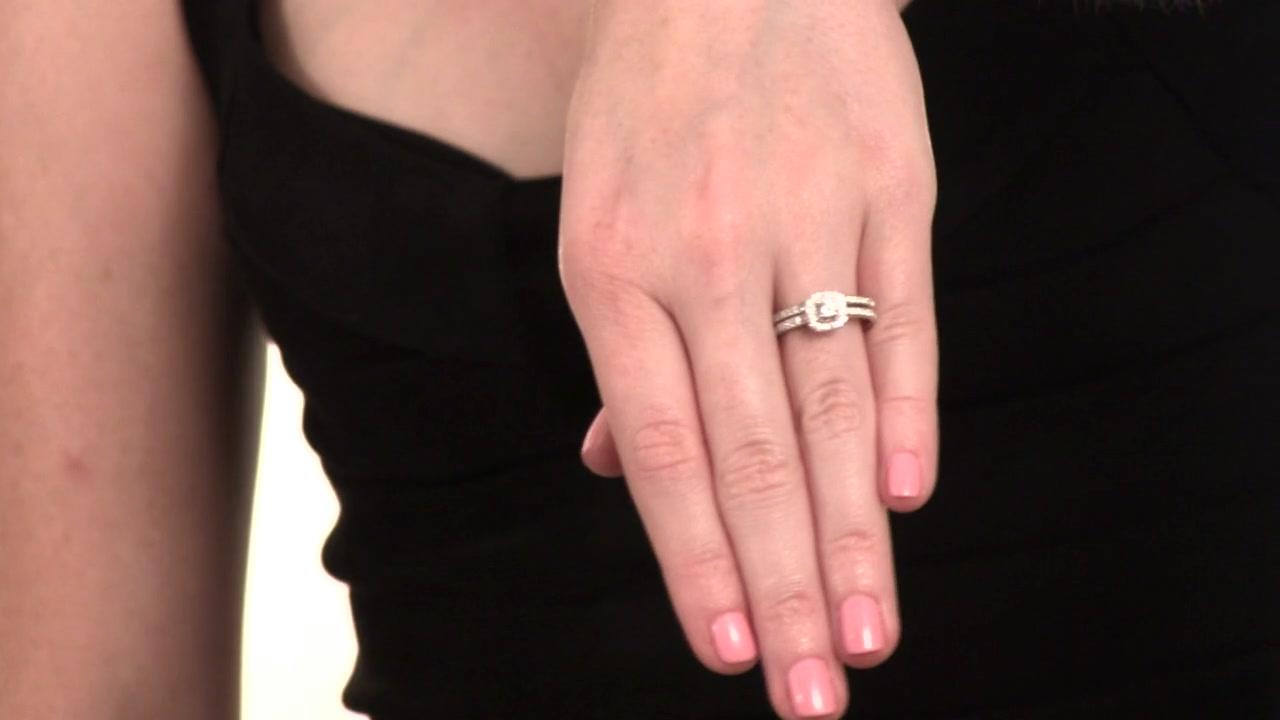 Diamond Vintage-Style Frame Bridal Set in 10K White Gold 1/2 CT ...
